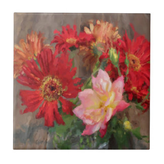 gerbera daisy and rose bouquet  oil painting tile