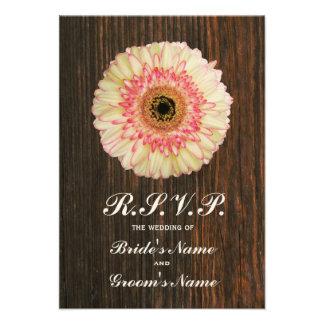 Gerbera Daisy Barnwood Wedding RSVP Custom Invitations