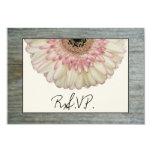 Gerbera Daisy & Barnwood Wedding RSVP 3.5x5 Paper Invitation Card