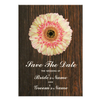 Gerbera Daisy Barnwood Wedding Save The Date Invites
