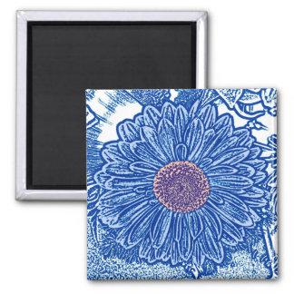 Gerbera Daisy Block Print - cobalt blue Magnet