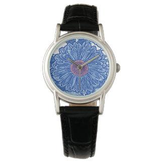 Gerbera Daisy Block Print - cobalt blue Watch