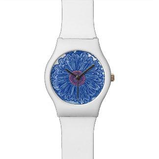 Gerbera Daisy Block Print - cobalt blue Wrist Watch