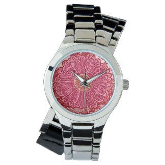 Gerbera Daisy Block Print - coral and pink Wrist Watch