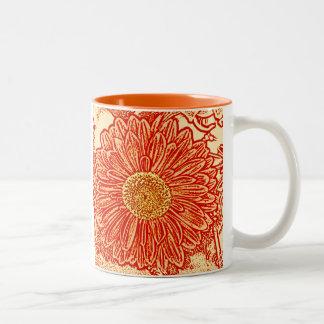 Gerbera Daisy Block Print - saffron orange Two-Tone Coffee Mug