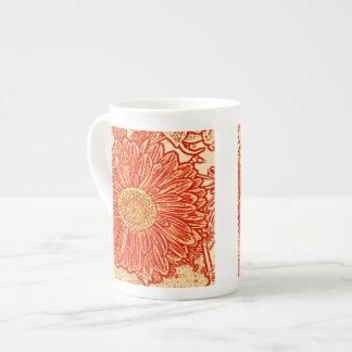 Gerbera Daisy Block Print - saffron orange Tea Cup