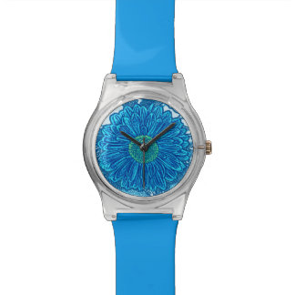 Gerbera Daisy Block Print - sea blue Wrist Watch