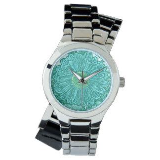 Gerbera Daisy Block Print - shades of aqua Wrist Watch