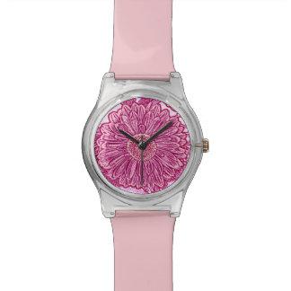 Gerbera Daisy Block Print - shades of pink Watch
