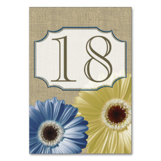 Gerbera Daisy Blue and Yellow Number Table Cards