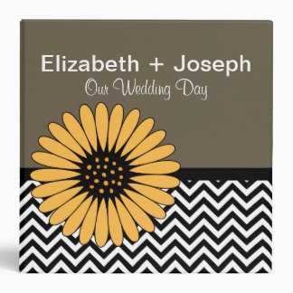 Gerbera Daisy & Cheveron Wedding Photo Album 3 Ring Binder
