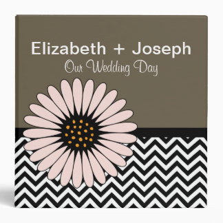 Gerbera Daisy & Cheveron Wedding Photo Album Binder