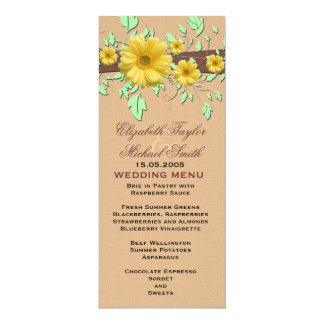 Gerbera Daisy Coral Damask Wedding Menu Card