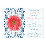 Gerbera Daisy Coral Navy Blue Floral Bridal Shower 4.5x6.25 Paper Invitation Card