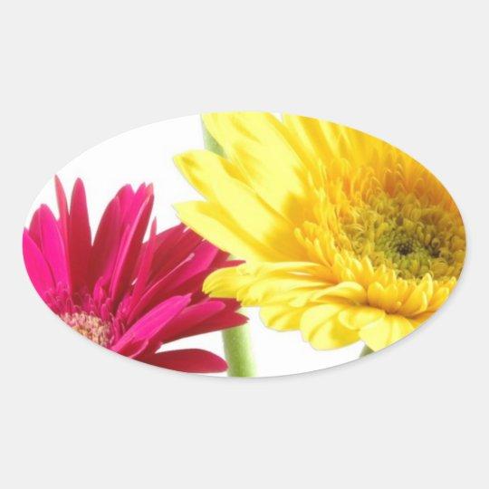 Gerbera Daisy Delight Oval Sticker