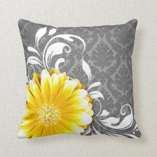Gerbera Daisy Fancy Damask   grey yellow white Throw Pillows