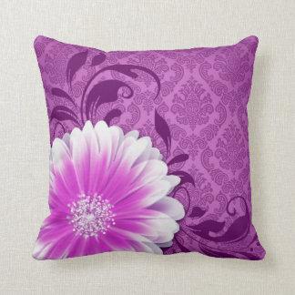 Gerbera Daisy Fancy Damask | lavender purple Throw Pillow