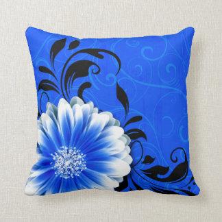 Gerbera Daisy Fancy Scroll | cobalt blue black Throw Pillow