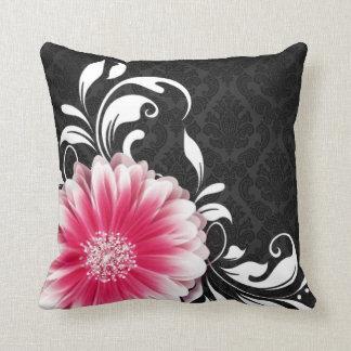 Gerbera Daisy Fancy Scroll | fuchsia black white Throw Pillow