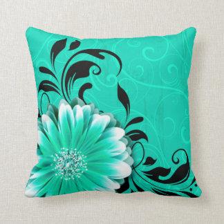 Gerbera Daisy Fancy Scroll | mint green black Throw Pillow