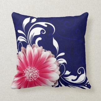 Gerbera Daisy Fancy Scroll | navy fuchsia Throw Pillow