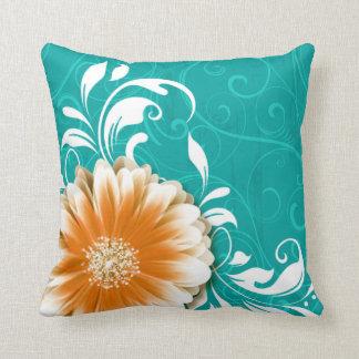 Gerbera Daisy Fancy Scroll | orange teal Throw Pillow
