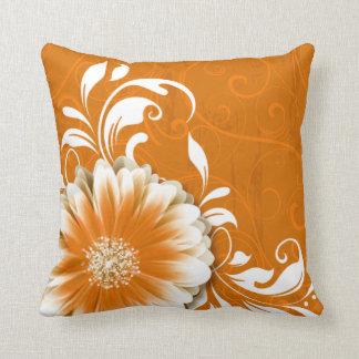 Gerbera Daisy Fancy Scroll | pumpkin orange white Throw Pillow