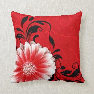 Gerbera Daisy Fancy Scroll | red black Throw Pillow