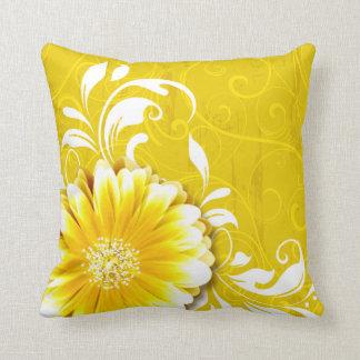 Gerbera Daisy Fancy Scroll sunflower yellow white Throw Pillow