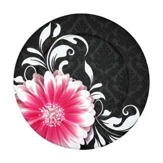 Gerbera Daisy Flourish Curlicues | black fuchsia Button Covers