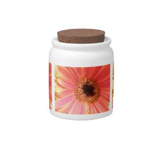 Gerbera Daisy Flower Candy Jar
