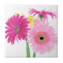 Gerbera Daisy Flowers Ceramic Tile