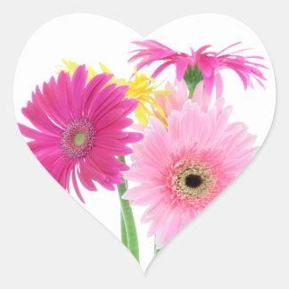 Gerbera Daisy Flowers Heart Sticker