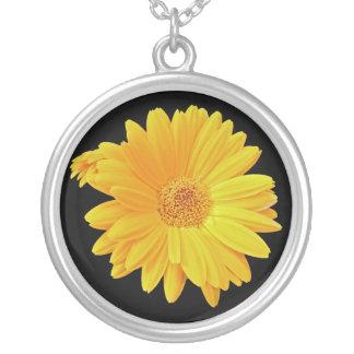 Gerbera Daisy (Gerbera hybrida) - Yellow Round Pendant Necklace