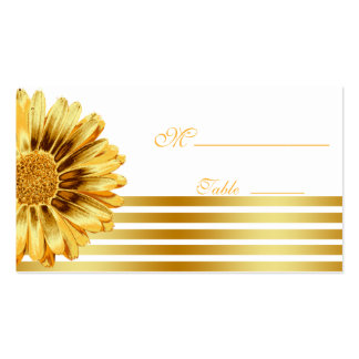Gerbera Daisy Gold Place Card for Occasion Wedding Double-Sided Standard Business Cards (Pack Of 100)