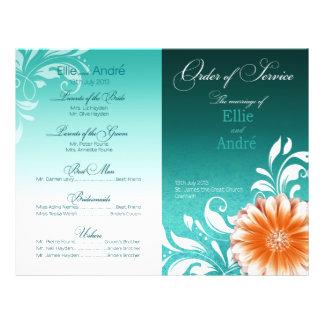 Gerbera Daisy Orange Aqua Order of Service Program Flyer