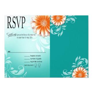 Gerbera Daisy Orange Aqua RSVP Card
