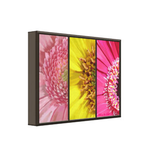 Gerbera Daisy Painting Tryptych Collage Canvas Print