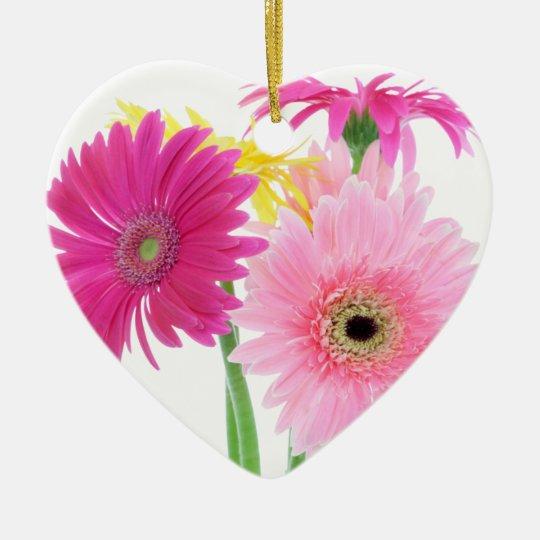 Gerbera Daisy Piink Flowers Ceramic Ornament