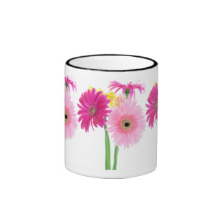 Gerbera Daisy Piink Flowers Coffee Mugs