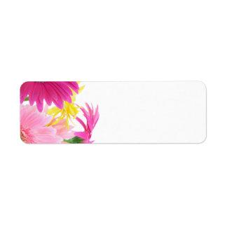 Gerbera Daisy Piink Flowers Return Address Labels