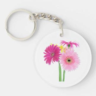 Gerbera Daisy Pink Flowers Keychain