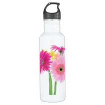 Gerbera Daisy Pink Flowers Stainless Steel Water Bottle