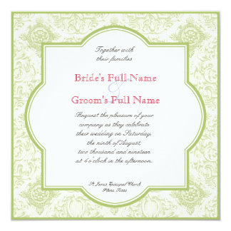 """Gerbera Daisy Pink Green Quatrefoil Wedding Invite 5.25"""" Square Invitation Card"""
