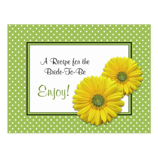 Gerbera Daisy Recipe Card for the Bride to Be