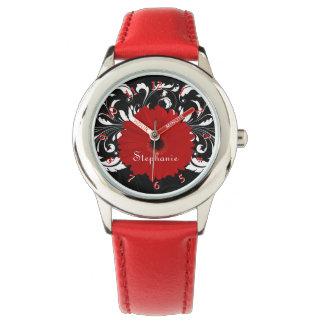 Gerbera Daisy Red/Black/White Wristwatch