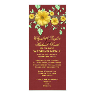 Gerbera Daisy Red Damask Wedding Menu Card