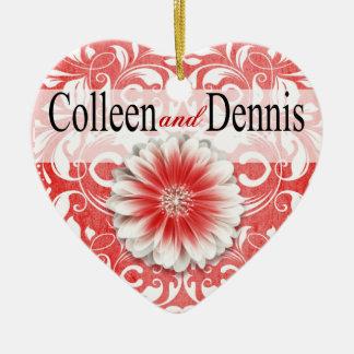 Gerbera Daisy Scroll 1 Photo | red Ceramic Ornament