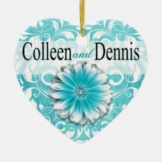 Gerbera Daisy Scroll 1 Photo | teal Ceramic Ornament