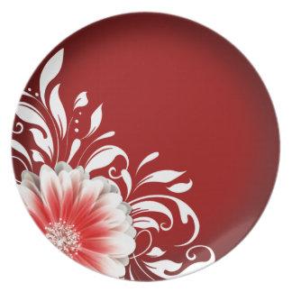 Gerbera Daisy Scroll 1 | red burgundy Melamine Plate